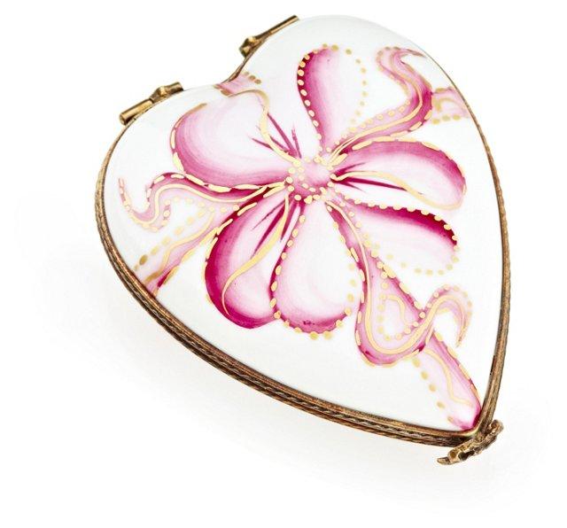 Flat Pink Heart Bow Box