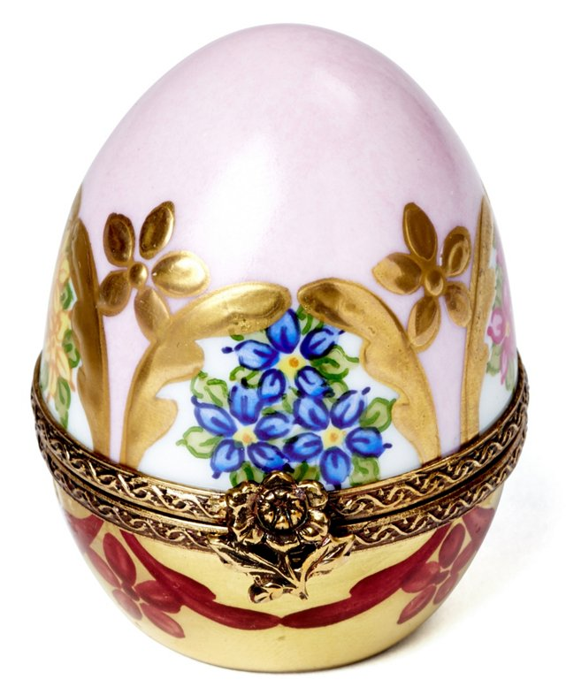 Pink Floral Egg Box with Perfume Bottle
