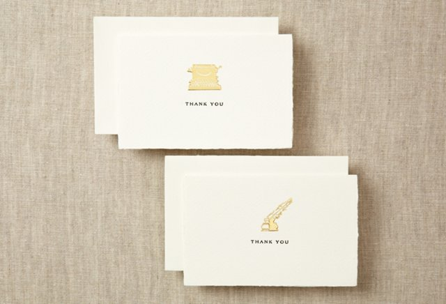 S/8 Assorted Thank You Notes, Gold