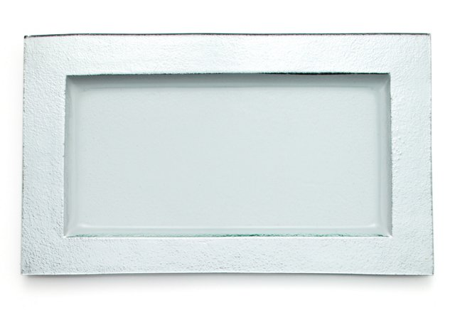 Textured Serving Tray, Silver Solid