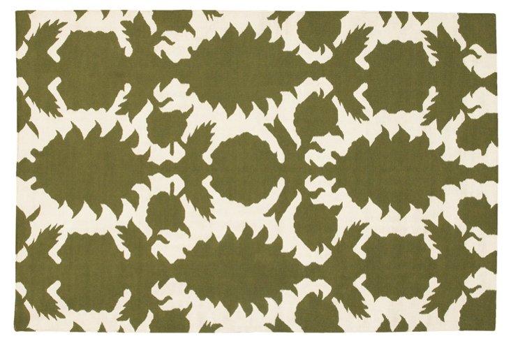 Flock Rug, Green/Ivory