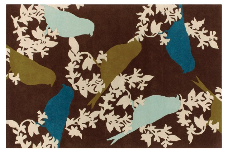 Goldfinch Rug, Chocolate/Aqua
