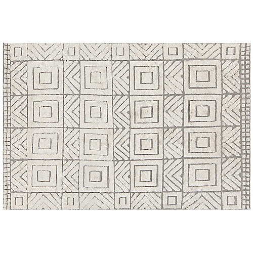 Ardmore Hand-Knotted Rug, White/Gray