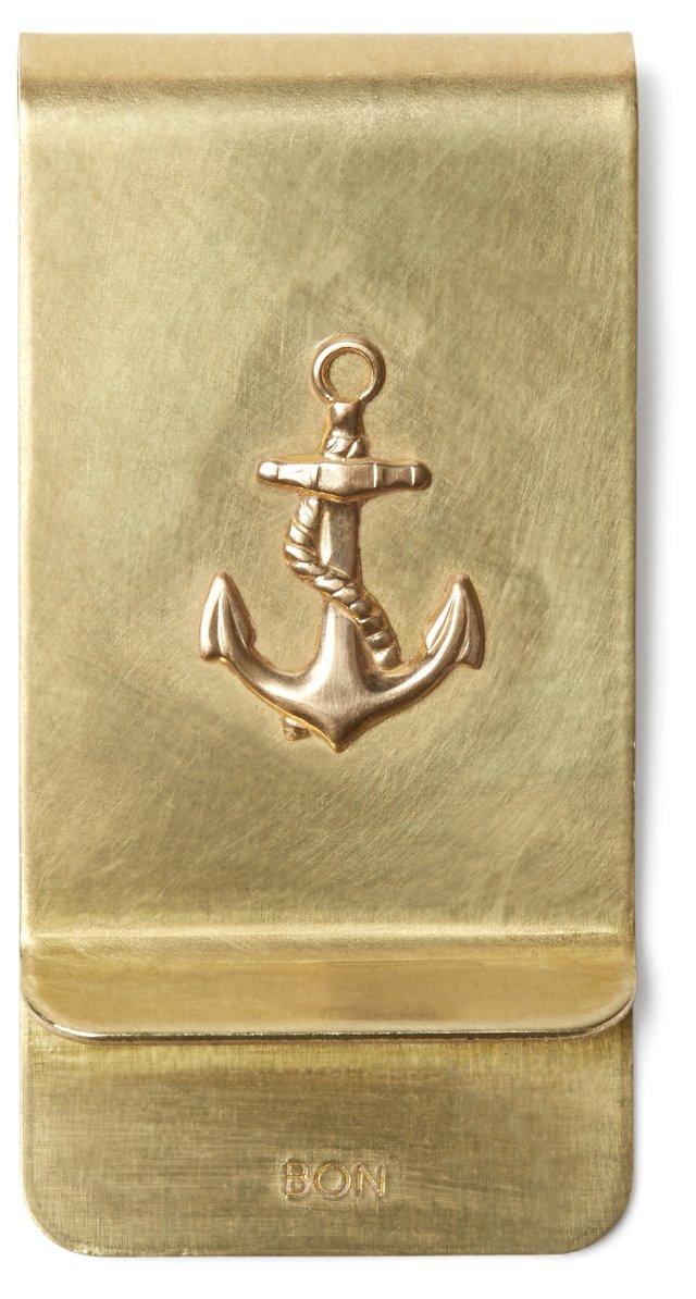 Brass Money Clip, Anchor