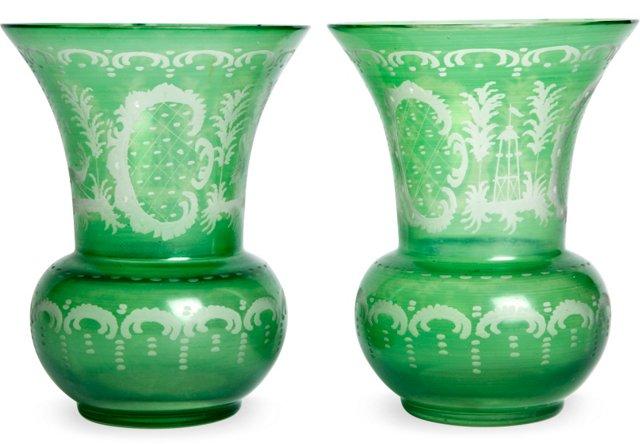 Green & White Vases, Pair