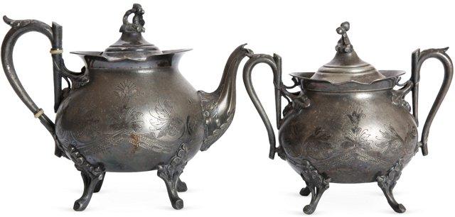 Silverplate Teapot & Sugar Bowl, 2 Pcs.