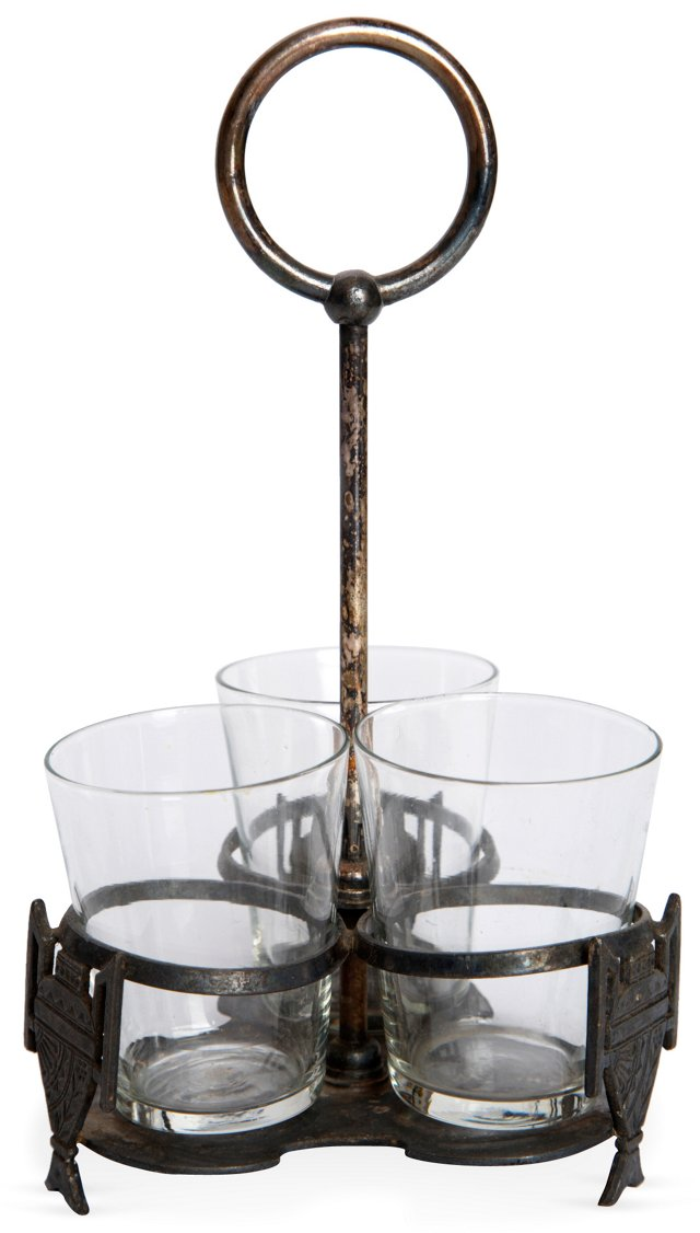 Silverplate Service Piece w/3 Glasses