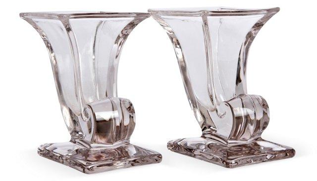 Crystal Vases, Pair