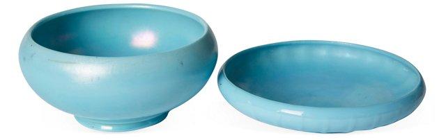 Blue Ceramic Bowl & Tray