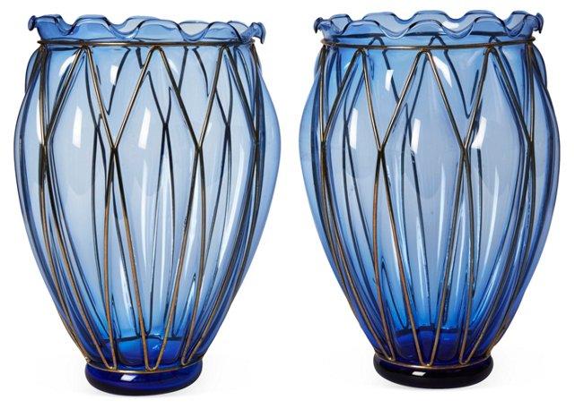 Blue Glass Vases, Pair