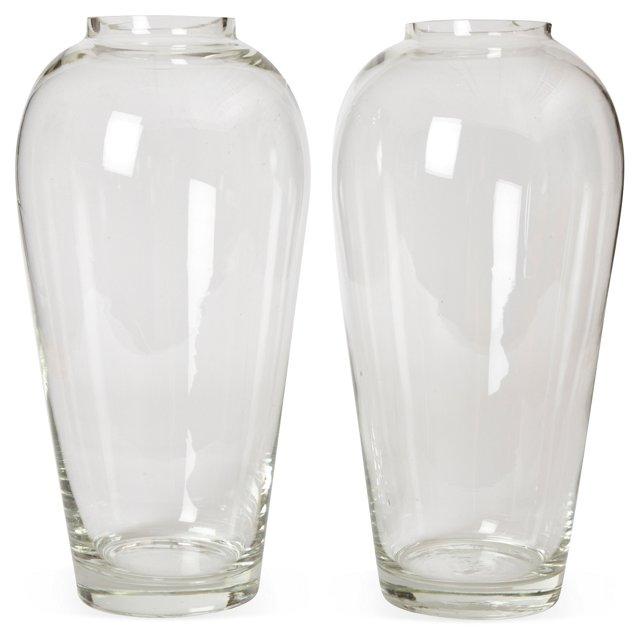 Glass Vases, Pair