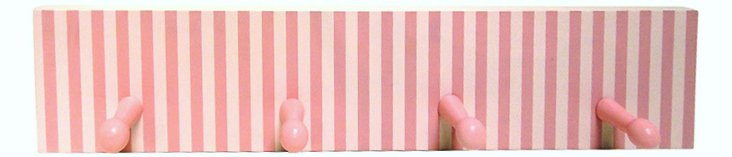 Stripes Four Peg Wall Hooks, Pink