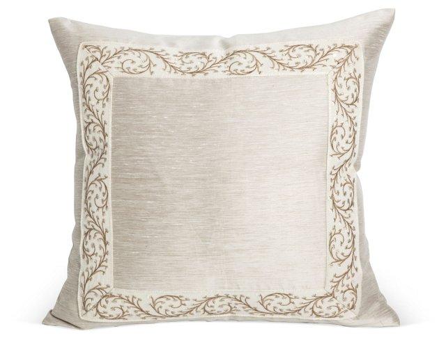 Elegant Silk and Linen Pillow w/ Trim