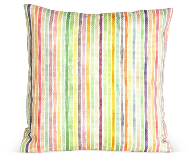 Outdoor Striped Pillow, Multi