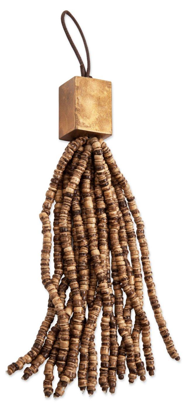 Beaded Key Tassel, Gold
