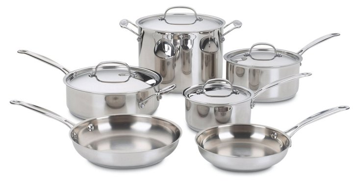 10-Pc Classic Cookware Set, Silver