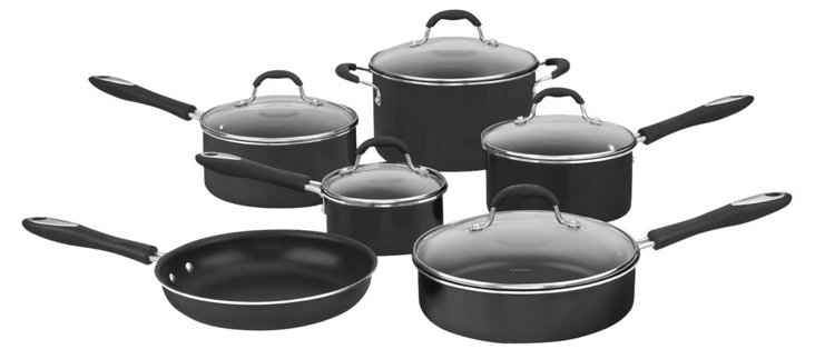 11-Pc Nonstick Cookware Set, Black