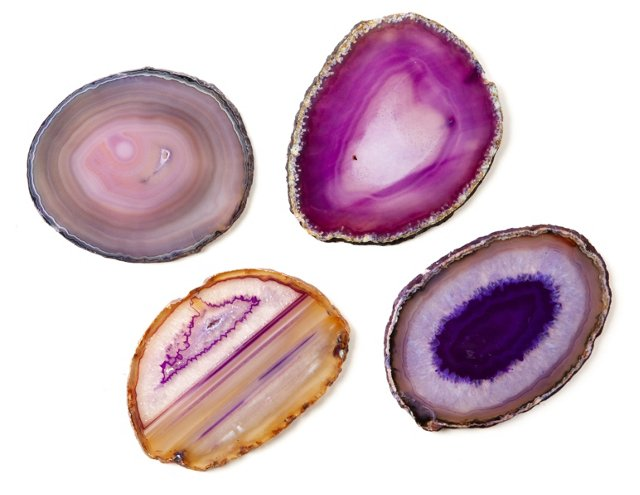 Asst of 4 Agate Stone Coasters, Purple