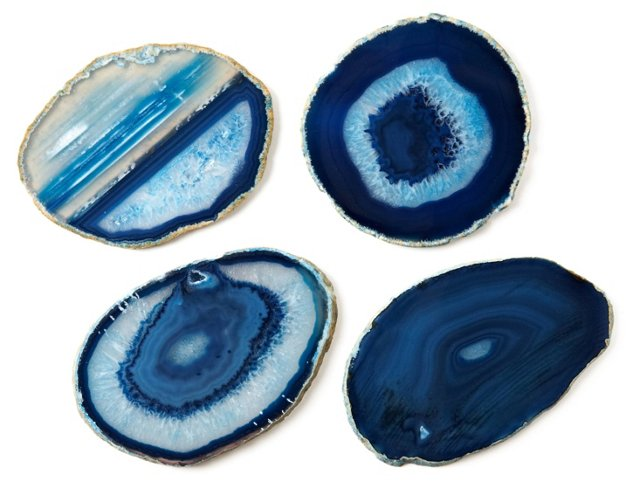 Asst of 4 Agate Stone Coasters, Blue