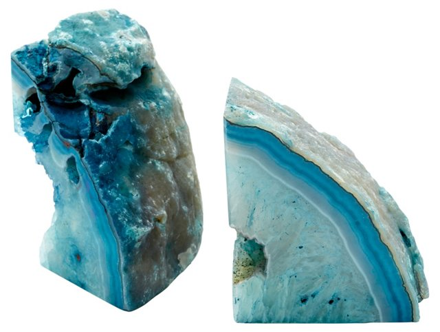 Pair of Agate Bookends, Teal