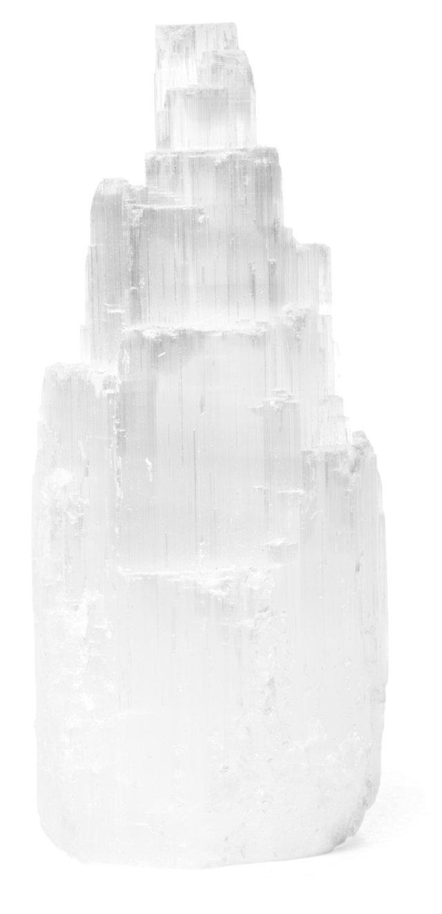 Selenite Paperweight, White