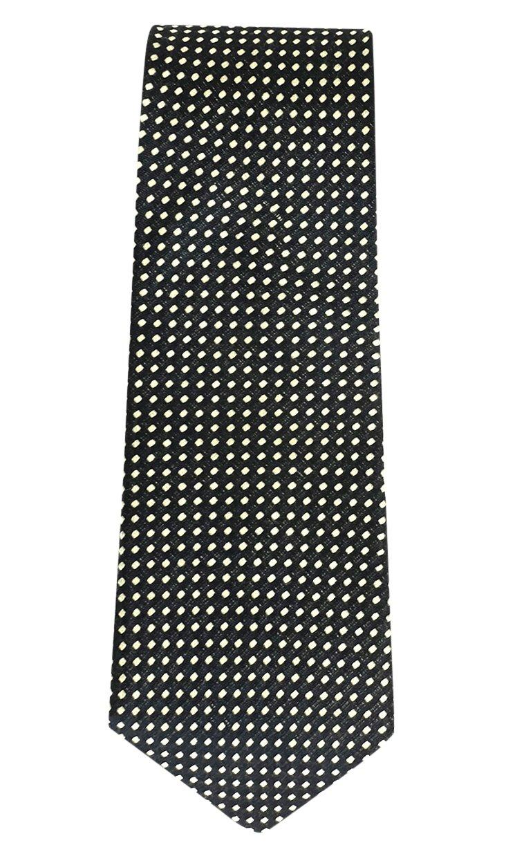 Dotted Silk Tie, Black/Cream