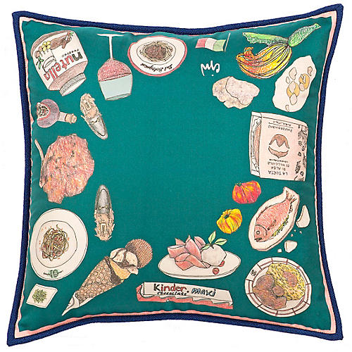 Italy 24x24 Pillow, Teal