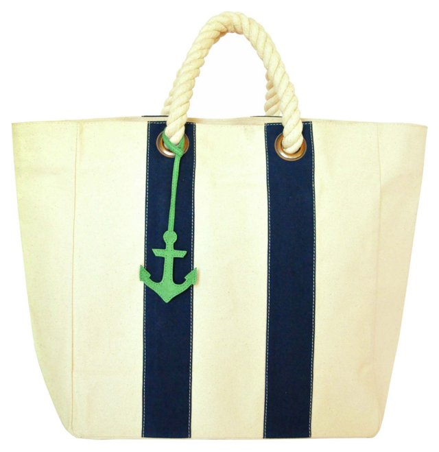 Rope Tote Bag w/ Anchor Charm, Navy