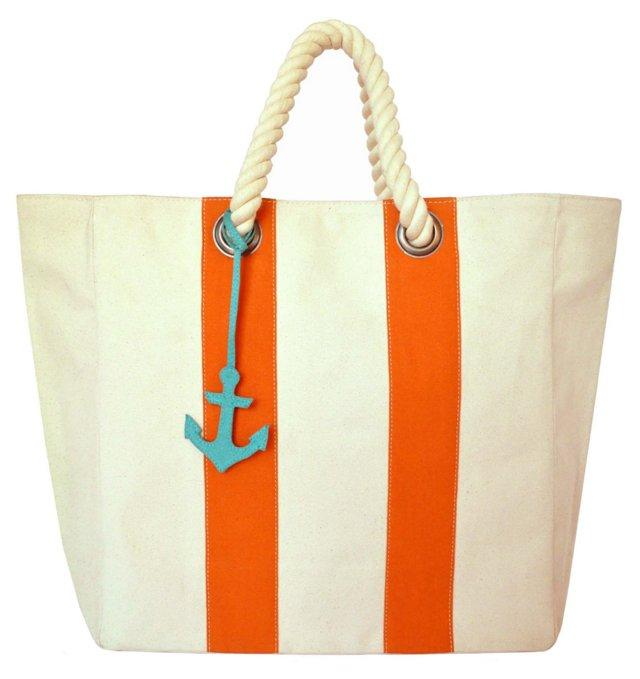 Rope Tote Bag w/ Anchor Charm, Orange