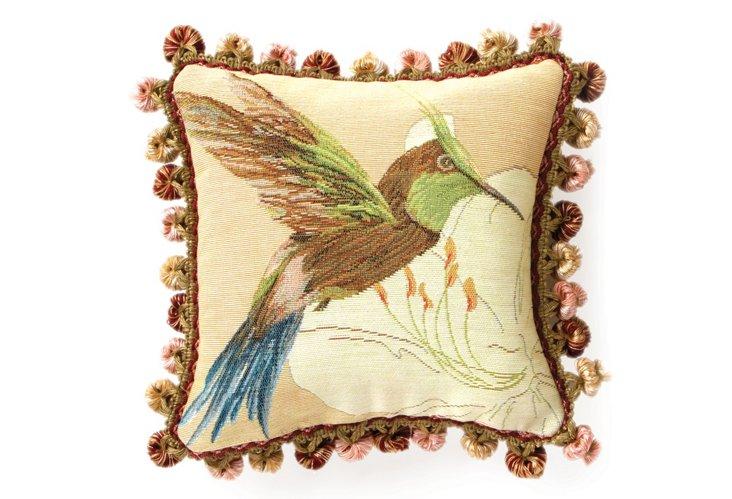 Hummingbird 10x10 Pillow, Light Peach