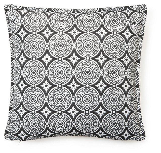 Medallion 18x18 Outdoor Pillow, Black