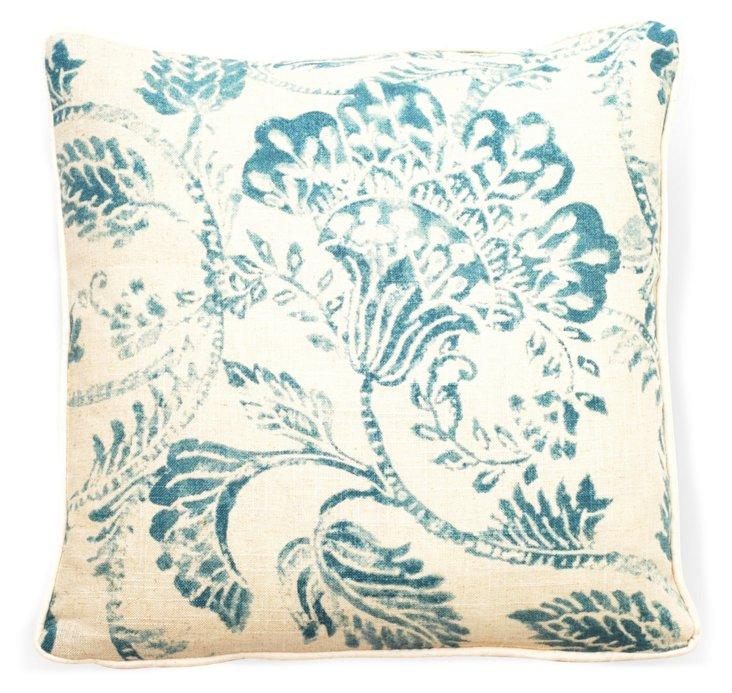 """Bali 18"""" Linen Pillow, Blue"""