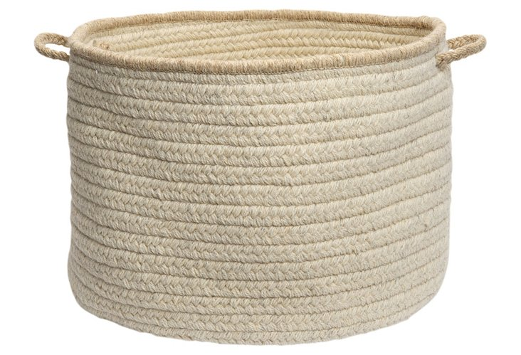 "24"" Natural Style Wool Basket, Canvas"