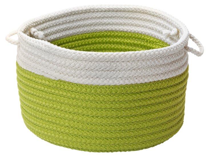 Green Color-Block Basket, Asstd Sizes