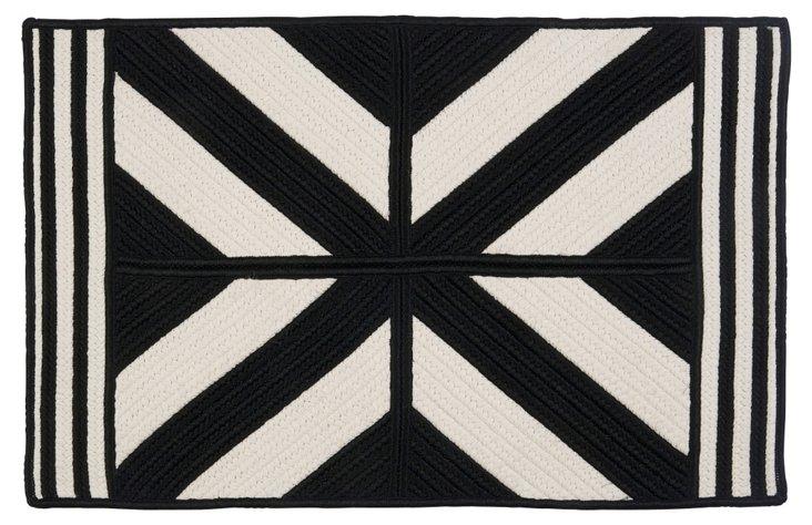 2'x8' Diamond Outdoor Rug, Black/White