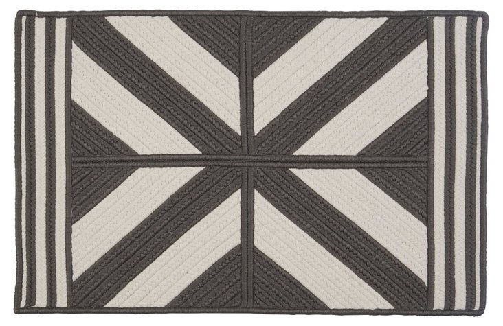 Diamond Outdoor Rug, Gray/White