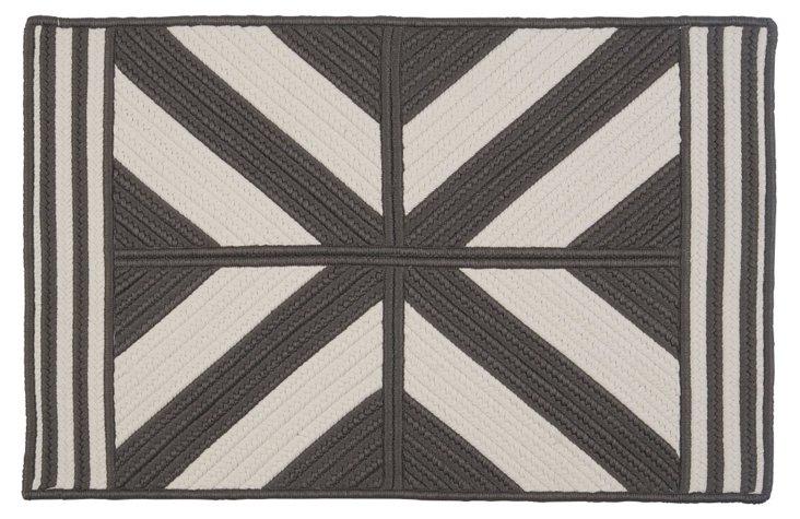 2'x8' Diamond Outdoor Rug, Gray/White