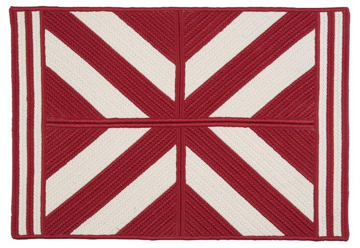 Diamond Outdoor Rug, Red/White