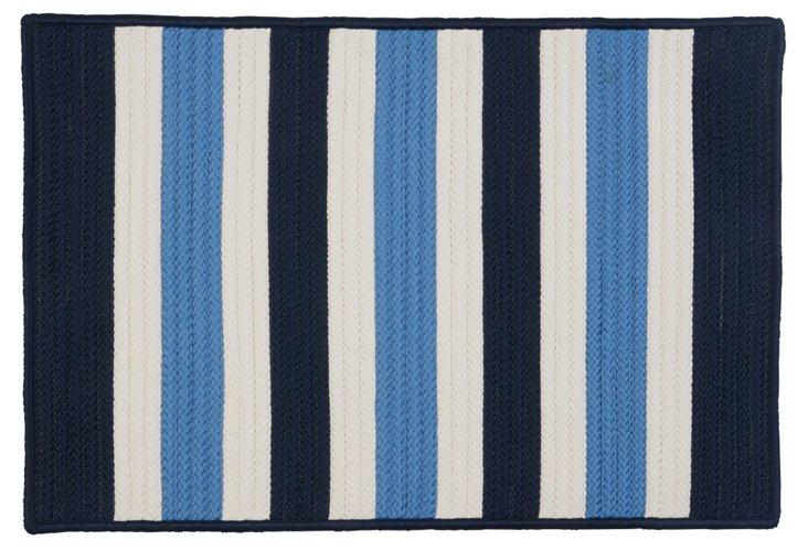 Stripe Outdoor Rug, Navy/Ice/White