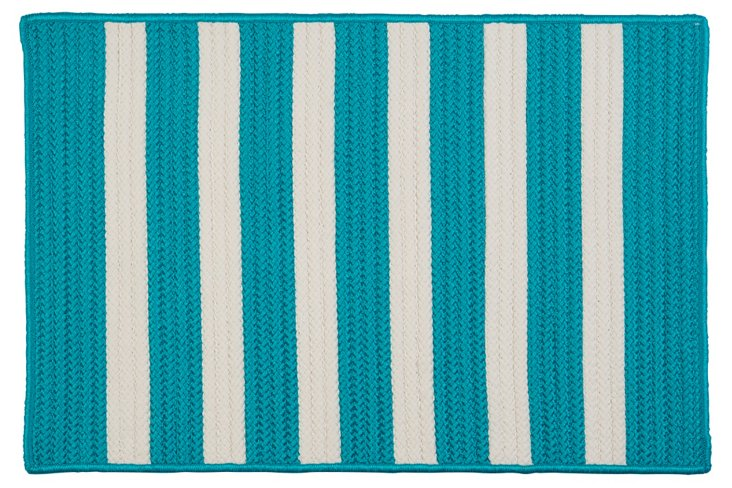 Stripe Outdoor Rug, Turquoise/White
