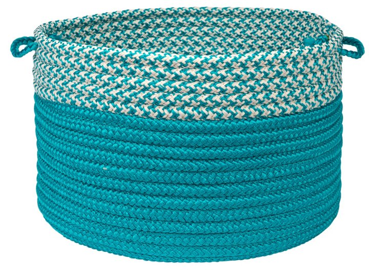 Houndstooth Dipped Basket, Turquoise