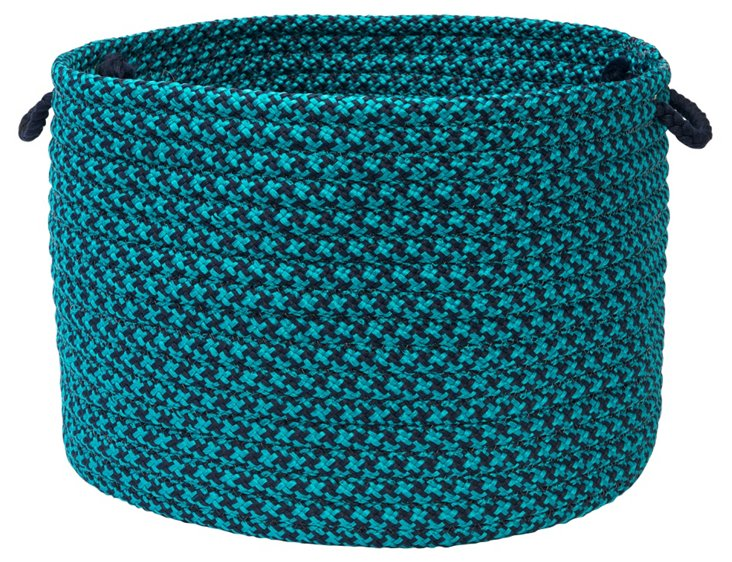 Color Tweed Basket, Turquoise/Navy