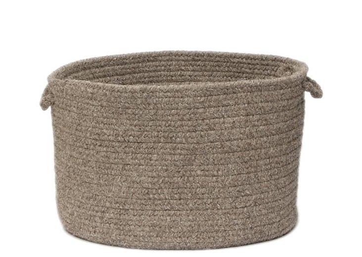 Natural Wool Basket, Rockport Gray