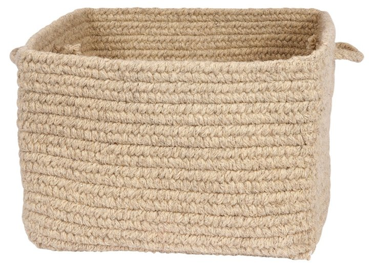 Square Wool Basket, Light Beige