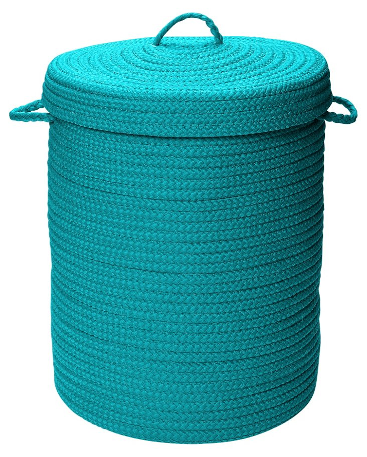 Simply Home Hamper w/ Lid, Turquoise
