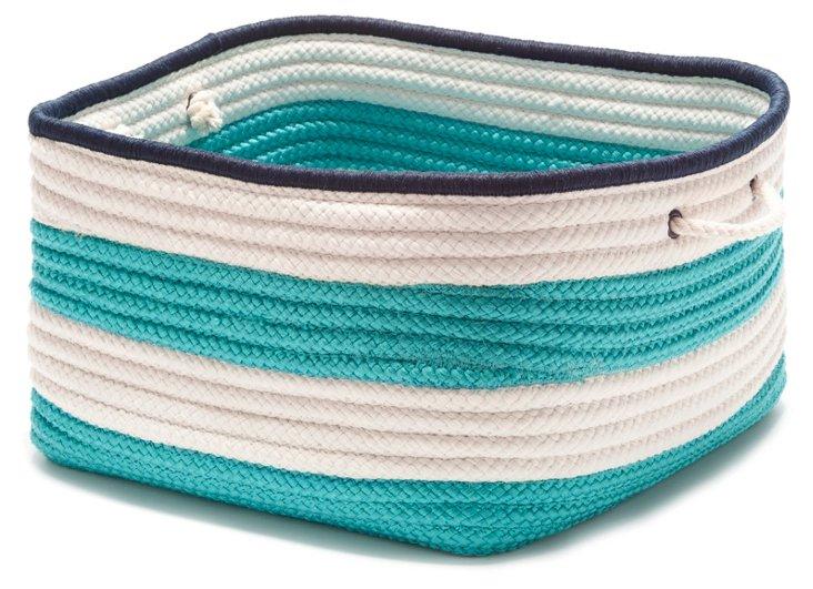 Nautical Stripe Basket, Turquoise/Navy