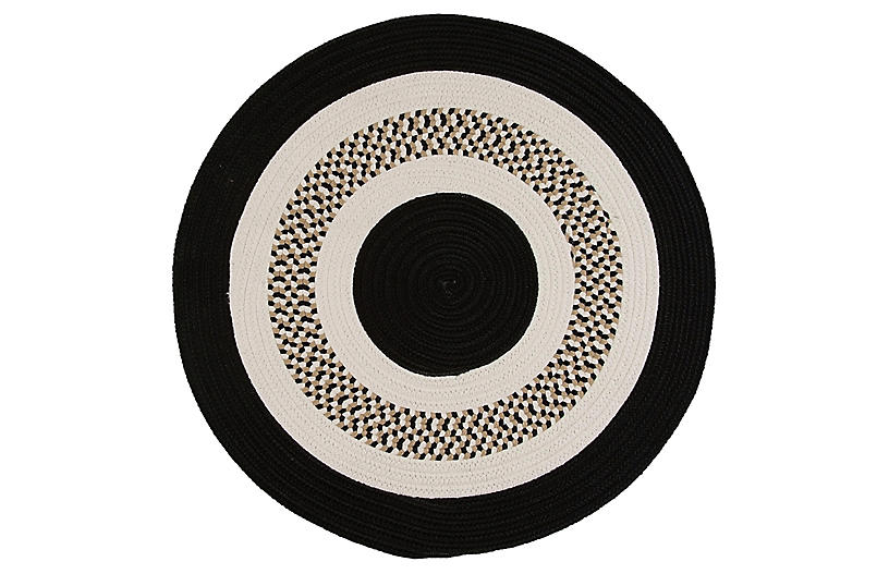 Round Laney Outdoor Rug, Black