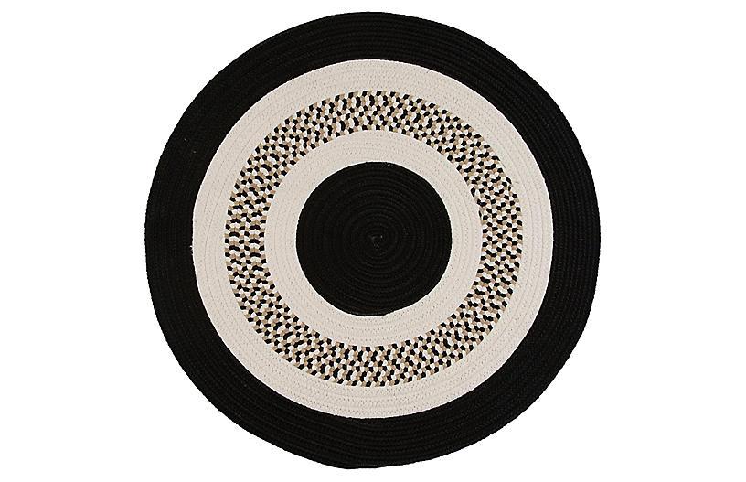 Round Laney Outdoor Rug, Black