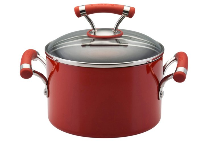 3 Qt. Covered Saucepot, Red