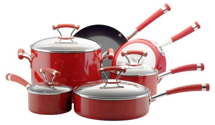10-Piece Cookware Set, Red